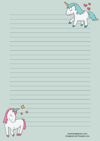 Unicorns - writing papers (A5, 10s)