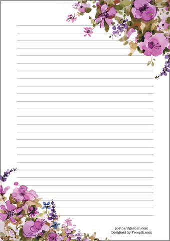 Pink flowers - writing papers (A5, 10s)