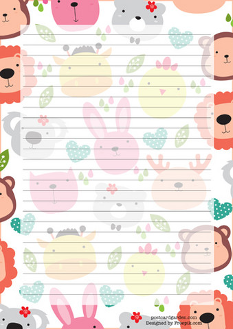 Cute animal heads - writing papers (A5, 10s)