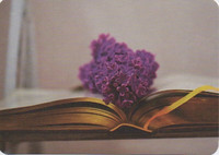 Old book with friesh purple lilac