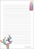 Kaktukset - kirjepaperit (A4, 10s) #2