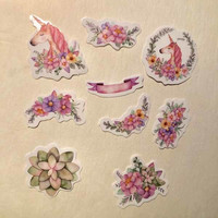 Sticker bag - Unicorns and flowers (50 stickers)
