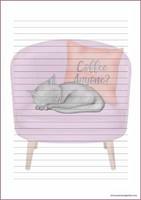 Kissa nojatuolissa - kirjepaperit (A5, 10s)