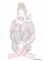 Tyttö ja kissa - kirjepaperit (A4, 10s) #1