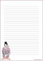 Tyttö ja kissa - kirjepaperit (A4, 10s) #2