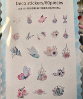 Sticker bag - Butterflies and flowers (60 stickers)