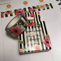 Washi tape - Flowers and stripes (1.5cm x 10m)