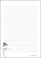 Snowman - writing papers (A4, 10s)