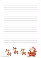 Santa and reindeers - writing papers (A5, 10s) #1