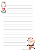 Santa couple - writing papers (A4, 10s) #1