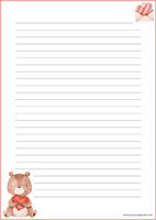 Teddy bear - writing papers (A4, 10s) #1