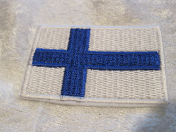 Hihamerkki 40x60mm Suomen lippu kangasmerkki