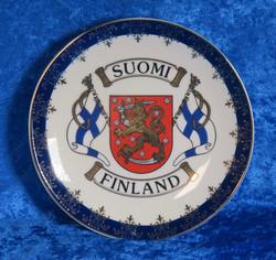 Seinälautanen 15cm Suomi-Finland, liput vaakunalla sinireuna