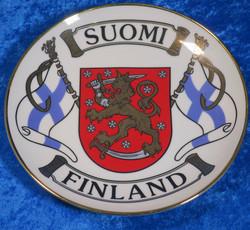 Seinälautanen 19cm Suomi-Finland, liput vaakunalla, aitokulta