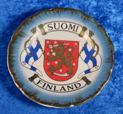 Seinälautanen 11cm Suomi-Finland liput ja vaakuna, aitokulta