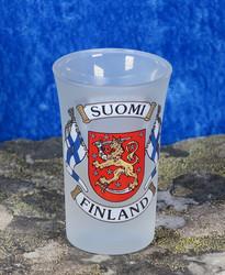 Shottilasi Suomi-Finland, liput vaakunalla, huurrettu
