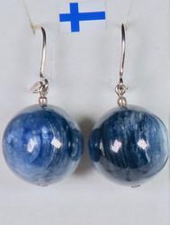 Korvakorut sininen kyaniitti 15mm, isot, upeat!