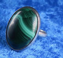 Malakiitti hopeasormus 18mm säädettävä, kivi 18x25mm nro4 uniikki