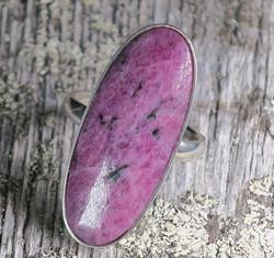 Rubelliitti hopeasormus 17,7mm säädettävä, nro1  uniikki