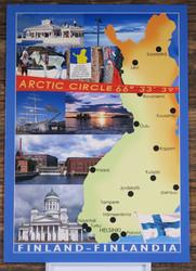 Postikortti Suomen kartta Arctic circle, Helsinki, Tampere, Saariselkä