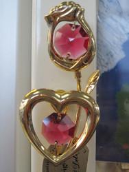 Magneetti: ruusu & sydän, kultakristalli  punainen kristalli