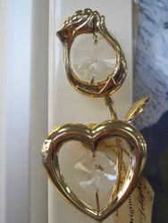 Magneetti: ruusu & sydän, kultakristalli, kirkas kristalli