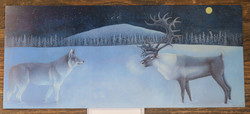 Postikortti Susi ja poro pitkä kortti 25x10,5cm, piirretty