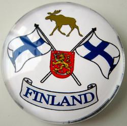 Magneetti: Suomen liput, Vaakunaleijona, hirvi, 35mm pyöreä