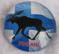 Magneetti: Suomen lippu, hirvi, pyöreä 35mm.
