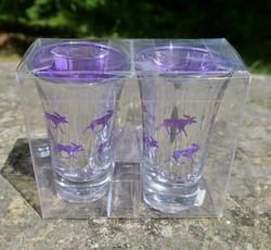 Shottilasi 2kpl pakkaus Hirvi, hopeoitu, sisäpuoli violetti