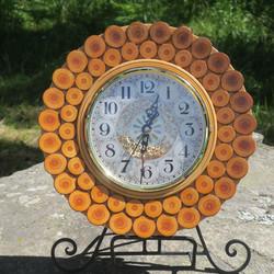 Seinäkello puuta aurinko 2-rivinen 30cm, lasiovi nroD