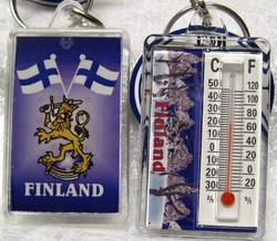 Avaimenperä lämpömittari Suomileijona, suomenliput 3x5cm