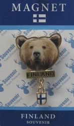 Magneetti: Karhu, Finland, suomenlippu, metallimagneetti