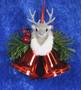 Joulukoriste poron pää ja punaiset joulukellot