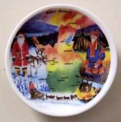Magneetti Lapin kartta, joulupukki, valjakko...6cm keramiikkaa