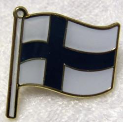 Pinssi Suomen lippu, liehuva, lyhyt salko