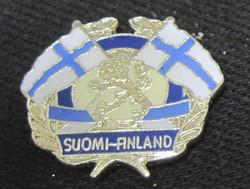 Pinssi Suomen liput ristissä, vaakunaleijona, Suomi-Finland