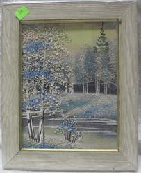 Taulu m: kuva on tehty pienillä kivillä.