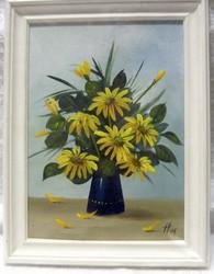 Taulu: keltaiset kukat, 15x21cm kehyksineen
