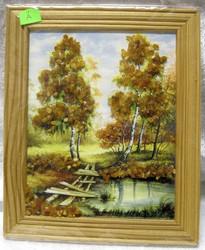 Taulu: Meripihkalla koristeltu kuva a. kehys 18x14cm. Silta.