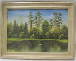 Taulu: Metsälampi, maalattu, 15x21cm kehyksineen.