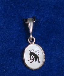 Riipus LEIJONA, LEO 925-hopea ja simpukka