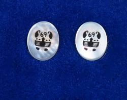 Nappikorvakorut RAPU CANCER 925-hopea ja simpukka