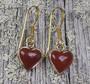 Pronssikorvakorut Sydän 9mm punainen jaspis