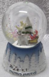 Lumisadepallo: Joulupukki ja poro, teksti Finland-Lapland, korkeus 6,5cm
