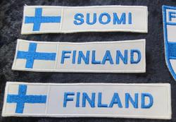Hihamerkki FINLAND  Suomen lippu 23x118mm patch