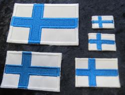 Hihamerkki 30x45mm Suomen lippu kangasmerkki patch