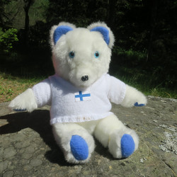 Pehmolelu nalle, jääkarhu 45cm, Suomalaista käsityötä, uniikki