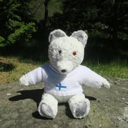 Pehmolelu nelle jääkarhu 45cm kiharakarvainen, Suomalaista käsityötä