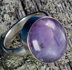 Hopeasormus rubiini  17,5mm, ovaali kivi 13x15mm tähtirubiini, nro2